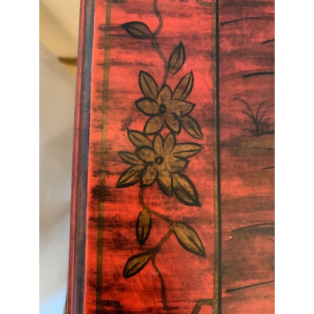 Wood Chelsea House Tomato Red Chinoiserie Chest of Drawers For Sale - Image 7 of 13
