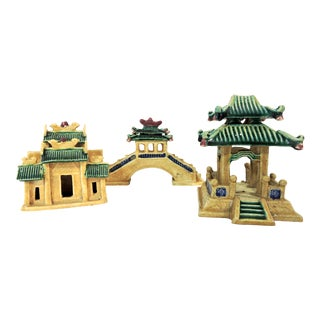 Vintage Ceramic Chinese Planter / Garden Ornaments - Bridge, Temple and Pavilion - Set of 3 For Sale