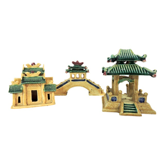 Vintage Ceramic Chinese Planter / Garden Ornaments - Bridge, Temple and Pavilion - Set of 3 For Sale