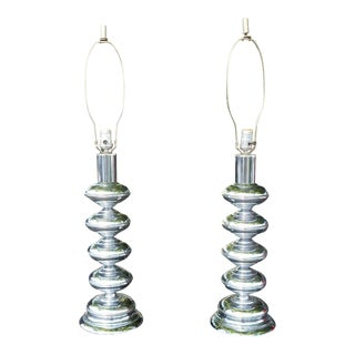 Pair of 1970's Stacked Chrome Ball Table Lamps Restored For Sale