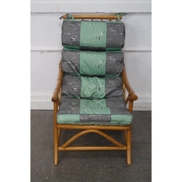 Mid-Century Rattan Frame High Back Lounge Chair - Image 2 of 10