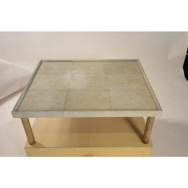 1980s Contemporary Garrison Rousseau Custom Shagreen and Parchment Side Table For Sale - Image 12 of 13