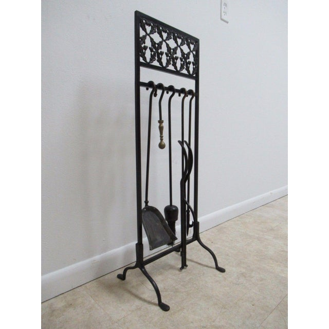 Vintage Wrought Iron Acorn Fireplace Tool Holder Set - Image 4 of 11