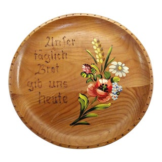 "German Folk Art ""Give Us This Day Our Bread"" Wooden Wall Plate For Sale"