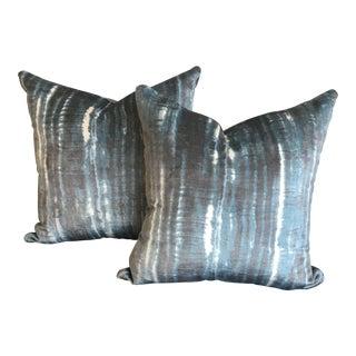 Pair of Kravet Couture Pillows in Italian Chicattah - Indigo Velvet For Sale