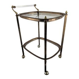 Mid Century Modern Brass Bar Cart For Sale