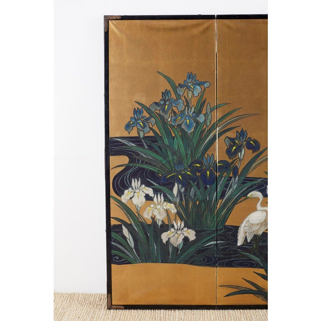 Asian Japanese Six-Panel Meiji Screen of Egrets on Gold Leaf For Sale - Image 3 of 13