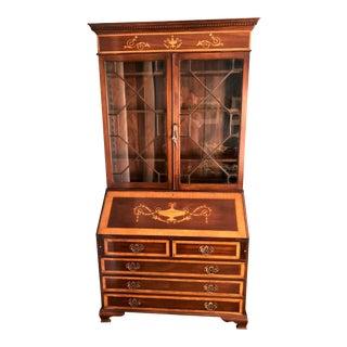 Mahogany English Secretary Desk With Satinwood Swag & Urn Inlays For Sale