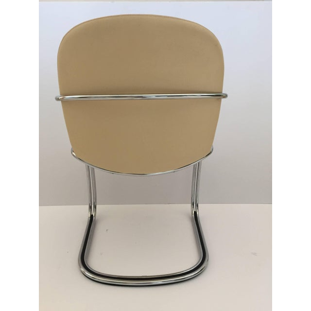 Animal Skin 1970s Italian Chrome and Leather Chairs by Gastone Rinaldi for Rima- Set of 4 For Sale - Image 7 of 11