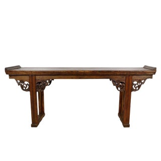 19th Century Chinese Open Carved Altar Table/Sofa Table For Sale