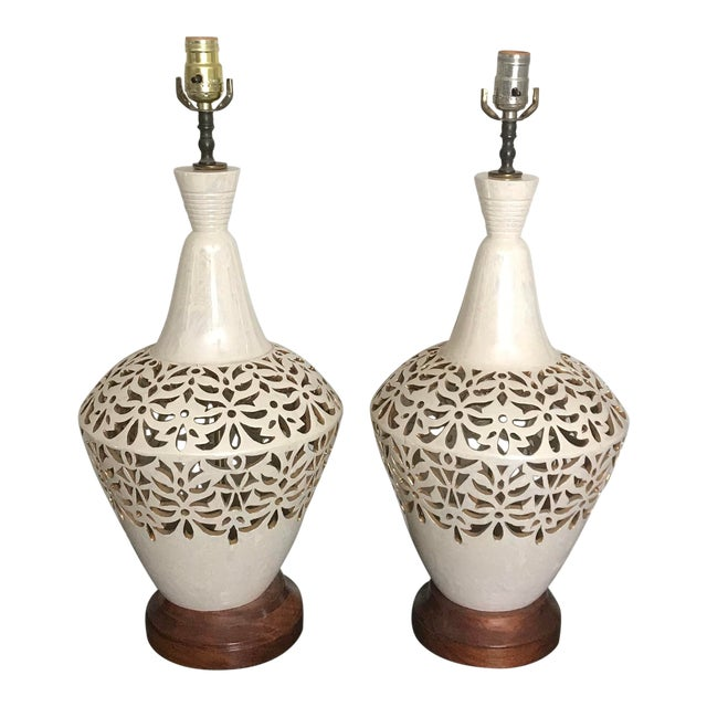 Vintage Mid Century Ceramic and Wood Gilt Cutout Lamps - a Pair For Sale