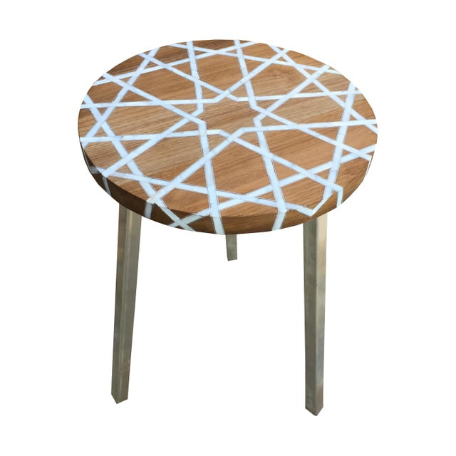 Metal Modern Islamic Style Mother of Pearl Inlay Side Table For Sale - Image 7 of 7