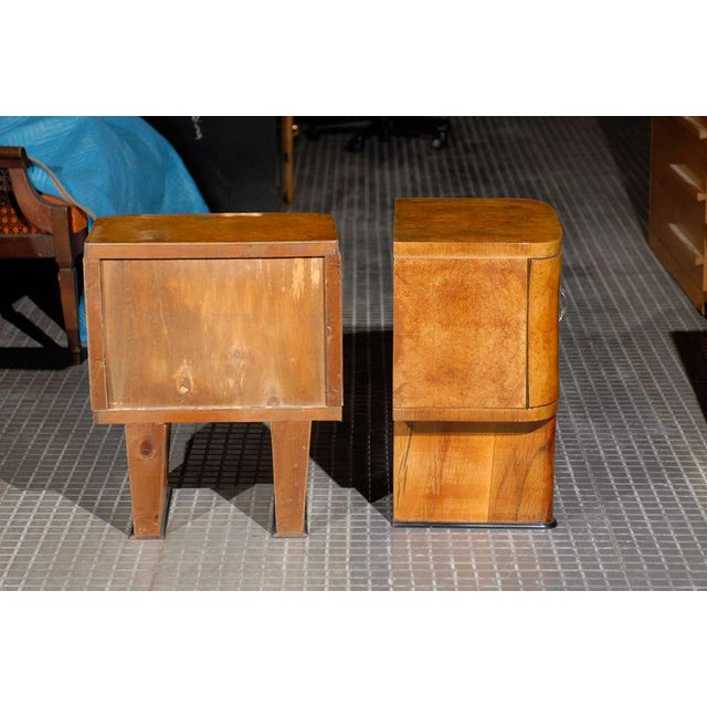 Exquisite Restored Pair Of Art Deco Small Cabinets In Walnut For Sale - Image 4 of 10