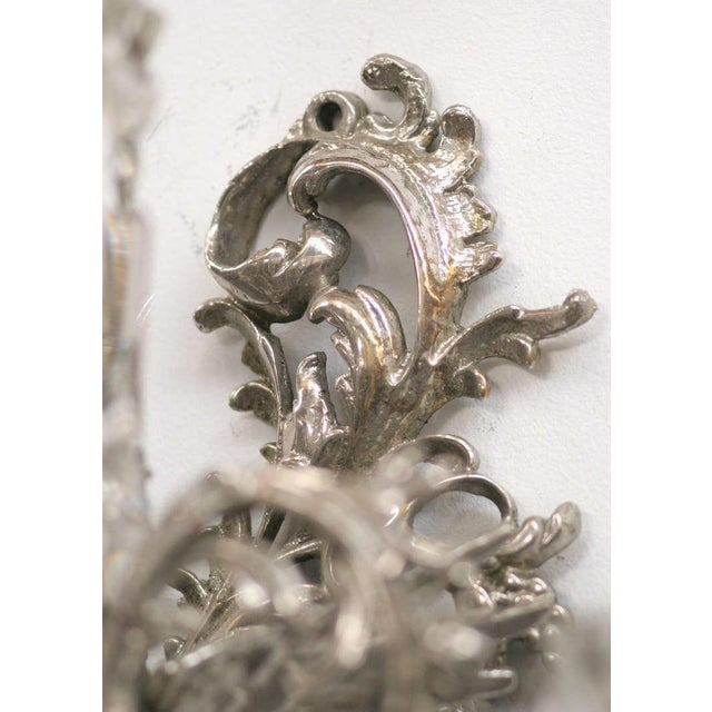 19th Century Nickel-Plated Bronze Rococo Dragon Wall Sconce Set of Four - Image 5 of 8
