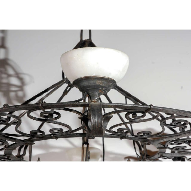 Early 20th Century French Iron and Alabaster Fixture For Sale - Image 5 of 10