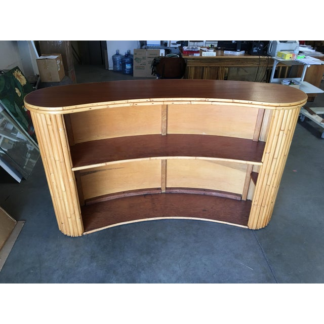 Brown Biomorphic Stacked Rattan Bar With Mahogany Front & Top For Sale - Image 8 of 10