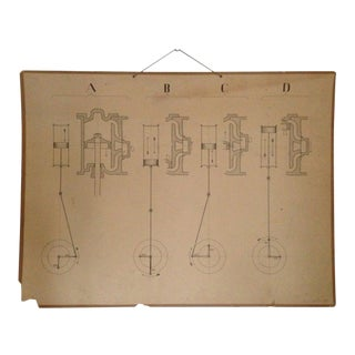 Vintage Swedish Engineering Chart Poster For Sale