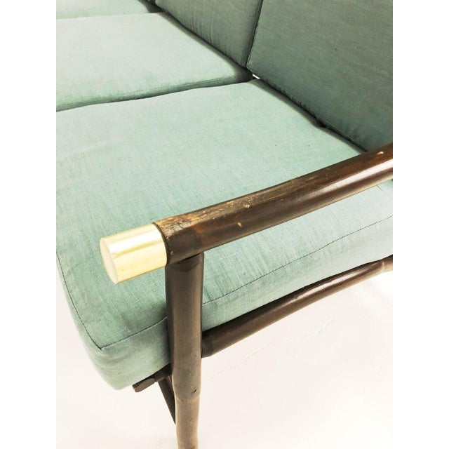 Ficks Reed Bamboo and Brass Sofa For Sale - Image 10 of 11