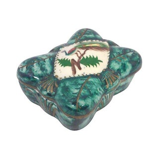 Plumed Peacock Japanese Ceramic Vanity Box