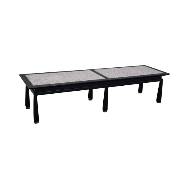 James Mont Mid Century Ebonized Marble Top Table - Image 1 of 10