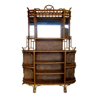 Vintage Boho Chinoiserie Natural Rattan Wicker Etagere