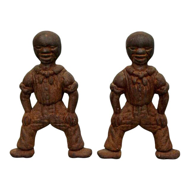 Antique Brutalist Iron African Art Male Figurine Fireplace Log Andirons - A Pair For Sale