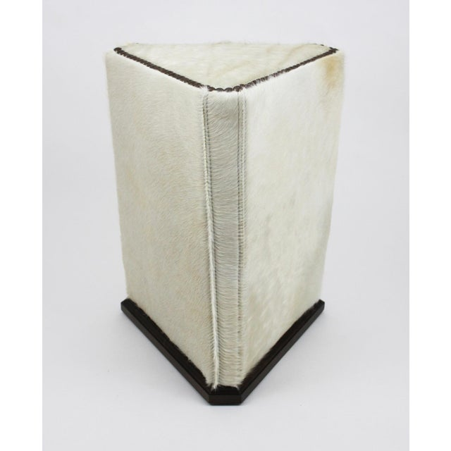 Lee Industries McAlpine Home White Hair on Hide Triangle Ottoman For Sale In Raleigh - Image 6 of 6