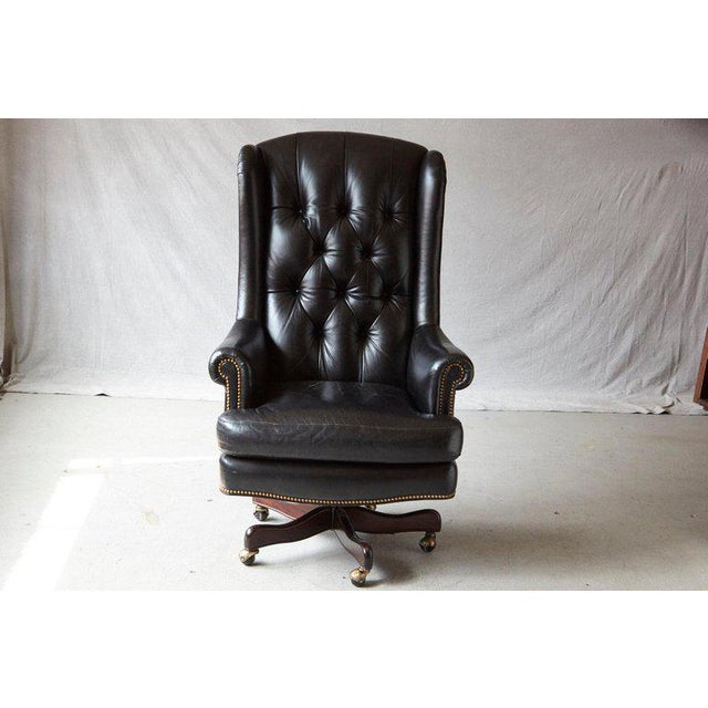 Tufted Black Leather Swivel -Tilt Executive Chair by Hancock & Moore For Sale - Image 12 of 12