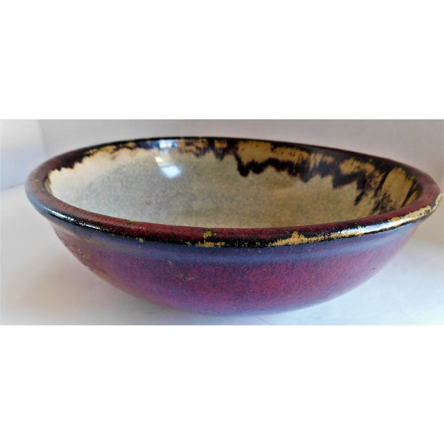 Vintage Claret and Taupe Heavy Glazed Pottery Bowl For Sale - Image 12 of 13