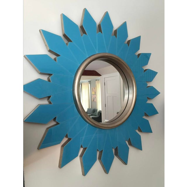 Modern Algonquin Hotel Turquoise Starburst Mirror For Sale - Image 3 of 4
