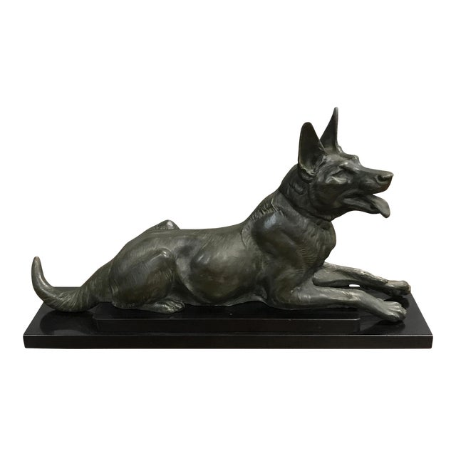 1940s French Art Deco Bronze Dogs Sculpture For Sale