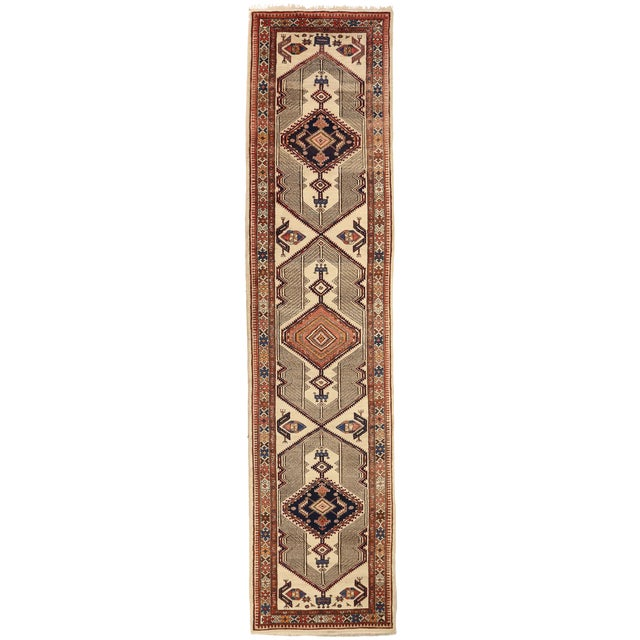 Antique Persian Sarab Rug With Incredibly Detailed Tribal Design - 3′9″ × 15′4″ For Sale