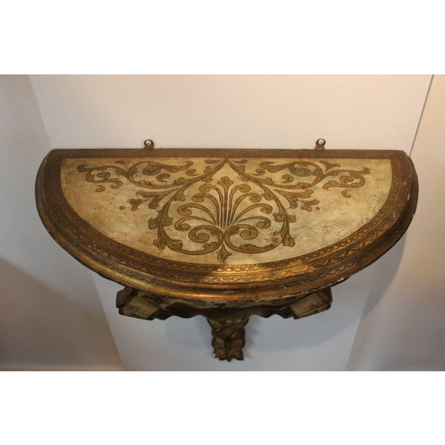 Glass 1940s Gilt Frame Italian Mirror and Console For Sale - Image 7 of 11