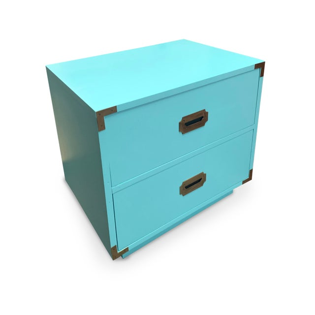 Campaign Vintage Aqua Dixie Campaign Nightstands - a Pair For Sale - Image 3 of 8