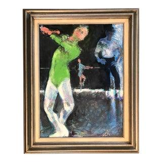 Vintage Original Ballet Dancer Studio Painting For Sale