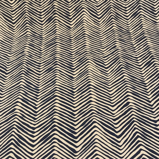 """2 7/8 navy on tint Quadrille / China Seas Petite Zig Zag fabric. The fabric is 55% linen / 45% cotton fabric, 48"""" wide /..."""