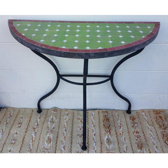 Mosaic Moroccan Lime Green and Red Trim Mosaic Demilune Table For Sale - Image 7 of 7