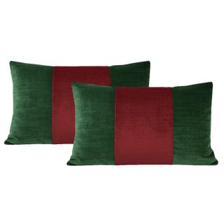 """12""""x18"""" Malachite Green and Christmas Red Strie Velvet Lumbar Pillows - a Pair For Sale"""