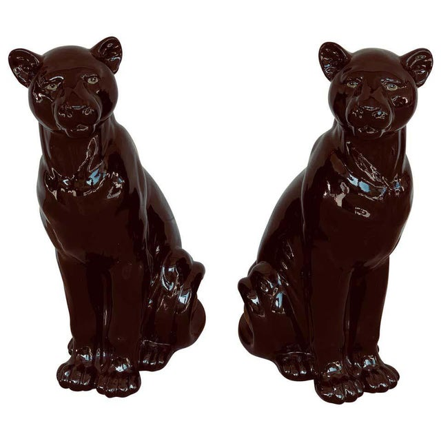 Pair of Italian Porcelain Seated Black Panthers For Sale - Image 12 of 12