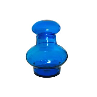 Oversized Mid Century Royal Blue Blenko Art Glass Jar For Sale
