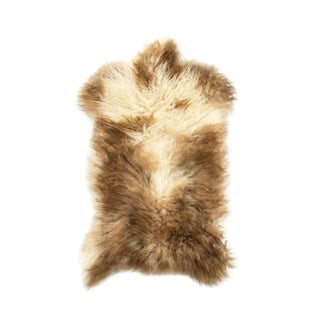 "Long Wool Sheepskin Pelt, Handmade Rug 1'7""x3'0"" For Sale"