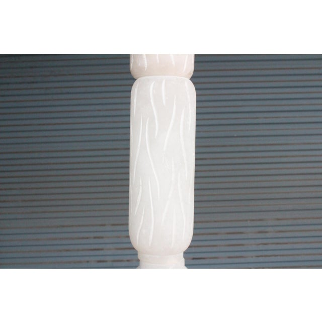 White Carved Alabaster Floor Lamp, Italy, 1970s For Sale - Image 8 of 9