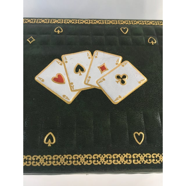 1950s Vintage Italian Quilted Green Card / Game Box For Sale - Image 4 of 13