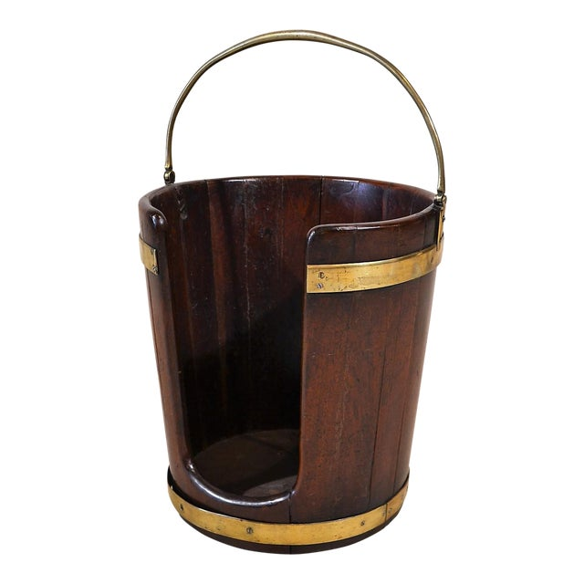 Antique English Brass-Bound Mahogany Plate Bucket Circa 1790-1810 For Sale