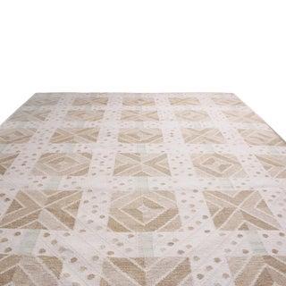 Rug & Kilim's Scandinavian-Inspired Geometric Cream Gray Natural Wool Rug - 10′4″ × 14′1″ Preview