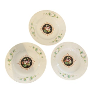 Antique Late 19th Century Floral Plates - Set of 3 For Sale