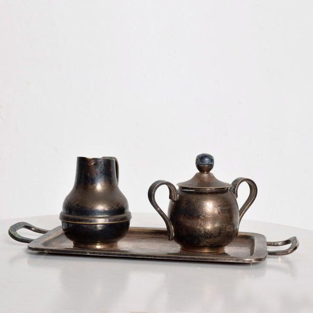 Los Castillo Coffee Tea Serving Set Silverplate & Malachite Azurite Stone Mexican Mid Century For Sale - Image 11 of 11