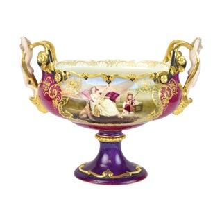 19th Century Orientalist Scenes Figural Cherubs Hand Painted Porcelain Bowl For Sale