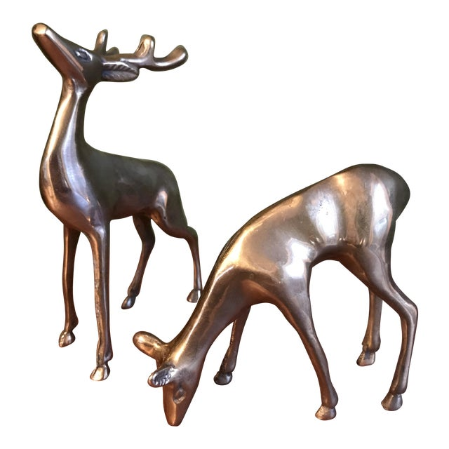 Brass Deer Statues - a Pair - Image 1 of 5