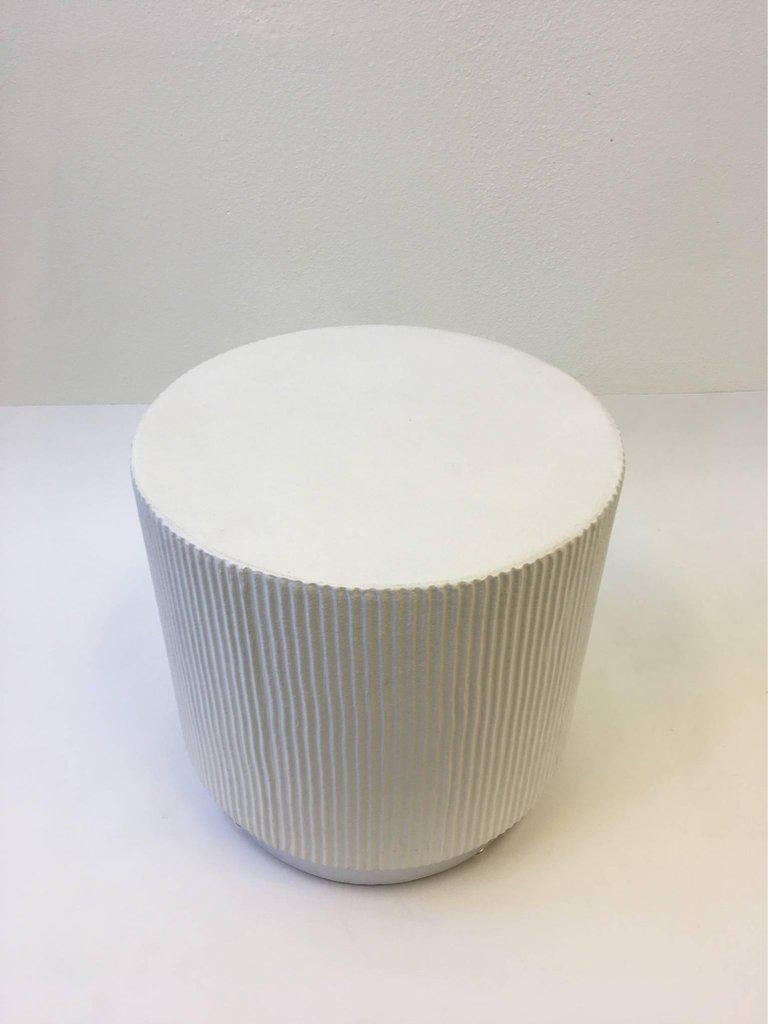White Lacquer And Brushed Aluminium Drum Side Table By Steve Chase   Image  3 Of 6